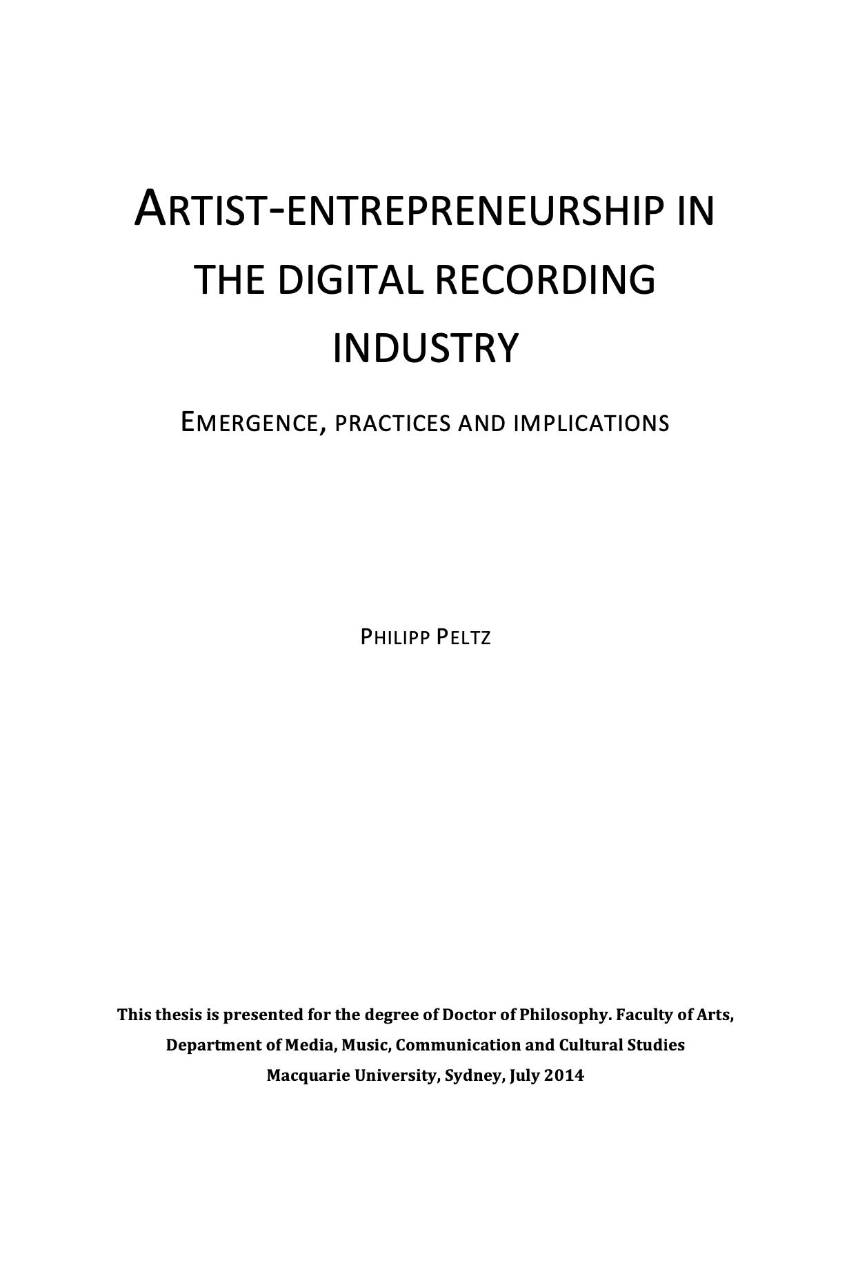 Artist-Entrepreneurship In The Digital Music Industry